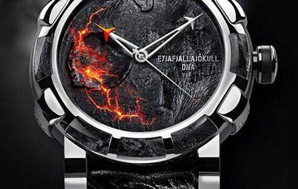 Um relogio feitos de rochas e cinzas do vulcão Eyjafjallajökull