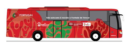 As frases dos 32 veículos que transportarão as delegações durante a Copa do Mundo, na África do Sul