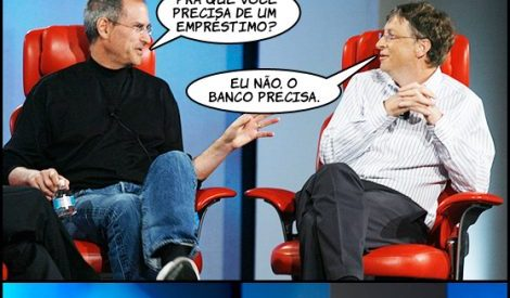 Steve Jobs e Bill Gates à conversa