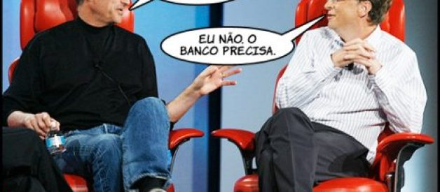 Steve Jobs e Bill Gates à conversa